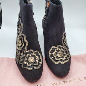 Sophia Webster kid suede ankle boot with floral